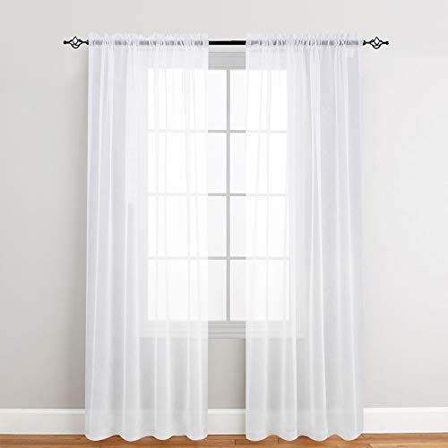 2 Panel Sheer Curtains White 84 inch Living Room Drapes Window Curtain Voile Sheers Linen Textured (And Curtains Drapes Near Me)
