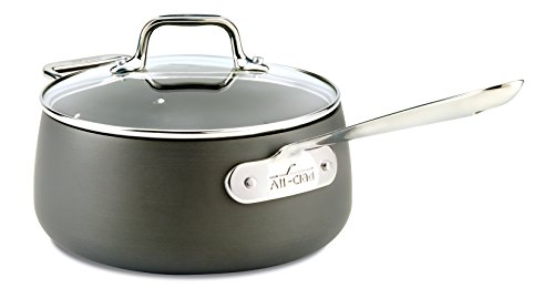 All-Clad E7852464 HA1 Hard Anodized Nonstick Dishwasher Safe PFOA Free Sauce Pan Cookware, 3.5-Quart, Black