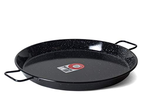 Garcima E-22GAR 22-Inch Enameled Steel Paella Pan, Medium, Silver