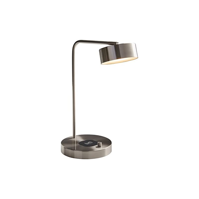 """Stone & Beam Modern LED Task Lamp, 18.5""""H, Brushed Steel with Wireless Charging"""