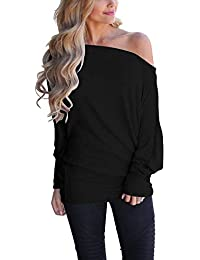 Women's Off Shoulder Long Sleeve Oversized Pullover Sweater Knit Jumper Loose Tunic Tops