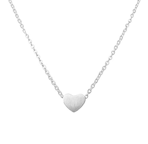 Altitude Boutique Simple Heart Necklace for Her, Pendant Love Choker or Long Style (Silver) Heart Pendant Choker