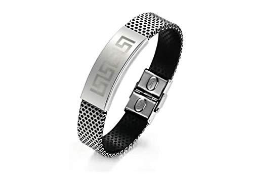 KnSam Bracelets with Charms Stainless Steel Leather Bracelet for Men Wave Point Spiral Black