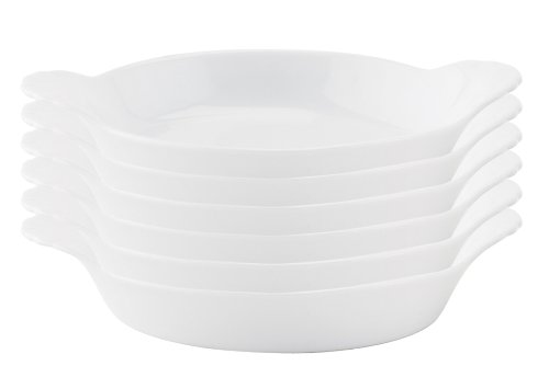 HIC Round Au Gratin Porcelain Creme Brulee Dish, 5-Inch,4-Ounce Capacity, Set of 6,