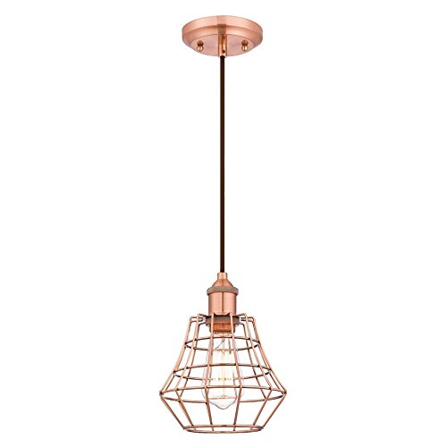 Pendant Copper Light (Westinghouse Lighting 6105200 Nathaniel One-Light Indoor Mini Pendant, Brushed Copper Finish with Angled Bell Cage Shade,)