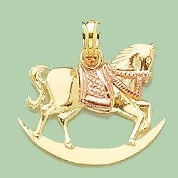 14k Gold Novelty Necklace Charm Pendant, Rocking Horse With Rose Gold Saddle