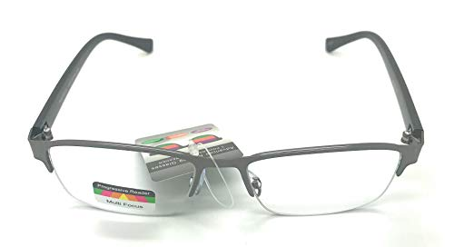 (Multi 3 Power Focus Progressive Reading Glasses Half Metal Rim Rectangular Eyeglasses (Gunmetal,)