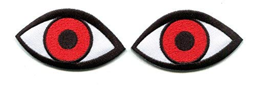 Horror Ball - 2 Evil Eyes eyeballs wicca horror goth embroidered appliques iron-on patches