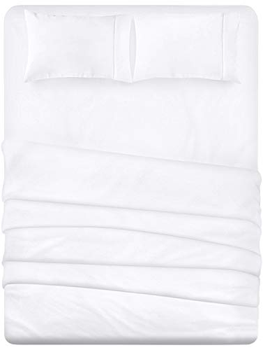 Utopia Bedding 4-Piece Queen Bed Sheet Set (White) (What Sheets Comforter Color With White)