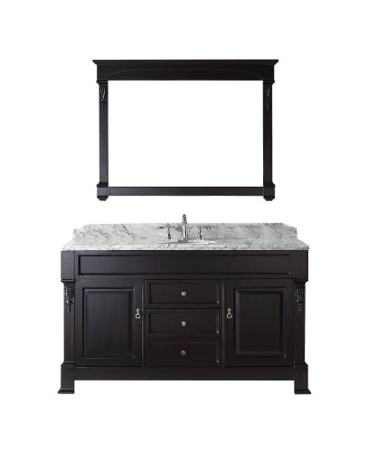 Dark Walnut Vanity (Virtu USA GS-4060-WMRO-DW Huntshire 60-Inch Single Sink Bathroom Vanity with Mirror and Ceramic Basin, Dark Walnut Finish)