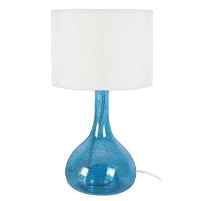 Tosel 64135 Carafe Lampe Verre Soufflé/Coton Bleu 200 x 340 mm