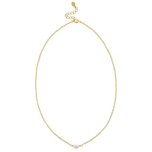 (Single Cultured Pearl Choker 18K Gold Chain White Bead Necklace Layering Minimalist Jewelry for Women 15'')