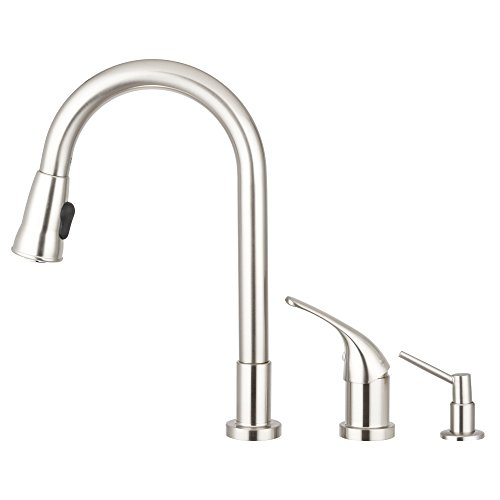 Pacific Bay Grandview Gooseneck Style Kitchen Faucet In Brushed Satin Nickel Features A Pull