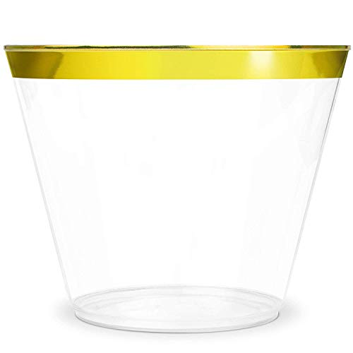KüchePro 100 Pack 9oz Gold Rim Clear Plastic Cups - Disposable Plastic Wine Glasses for Parties, Birthdays, Fancy Cups for Kids, Bridal Showers, Fancy Cups for Wedding and Other Holiday Plastic Cups -