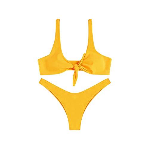 church123 Women Sexy Bikini Set Swimwear Thong Swimsuit Wire Free Scoop Bathing Suit Swimming Suit,Yellow,M