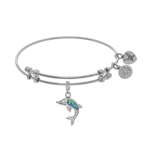 Angelica Brass with White Created Opal Single Dolphin Charm Bangle
