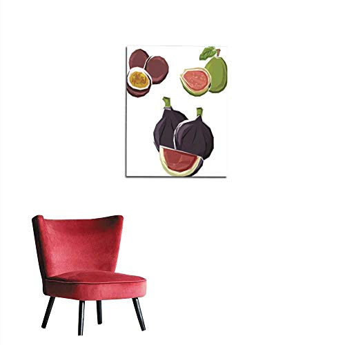 longbuyer Poster Wall Decor Low Poly figs Guava and maracuja Fruits Mural 32