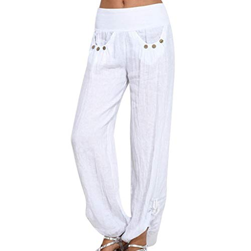 (TIFENNY Fashion Harlan Trousers for Women Solid Buttons Cotton and Linen Casual Loose Trouser Wide Leg Pants Close The Foot White)