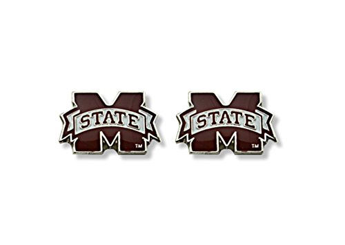Licensed NCAA Mississippi State Bulldogs Team Logo And Colors Post Earring Set (Gift Box Included) (Bulldogs Team Post Earrings)