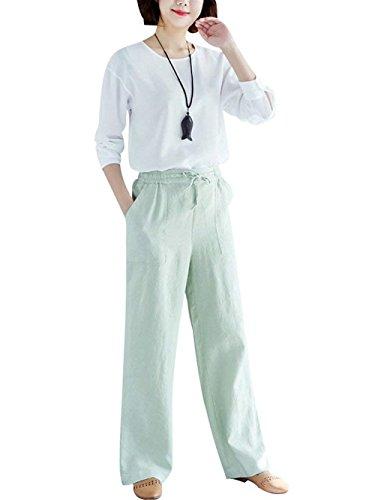 Pantalones Anchas Libre Cruzadas Cómodo Bastante Pantalon Con Mujer Women  Tiempo Lino Taille Elegantes Joven Grün Correas Elastische ... 197a21bbe520