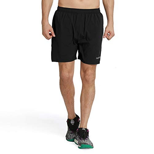 Fit 5 Pocket - DEMOZU Men's 5 Inch Dry Fit Running Shorts Workout Athletic Gym Short with Zipper Pockets,Black,XX-Large