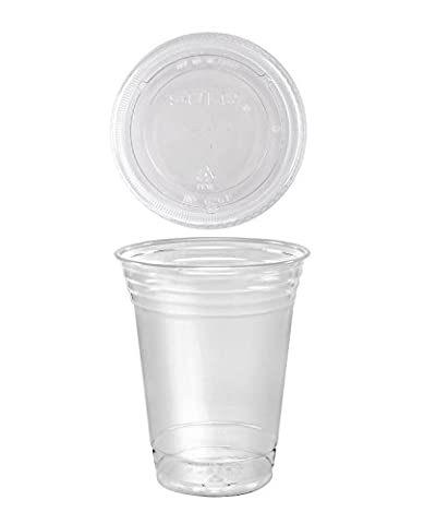 A World Of Deals 100 Sets 16 oz. Plastic CLEAR Cups with Flat Lids for Iced Coffee Bubble Boba Tea - 16 Ounce Plastic Containers