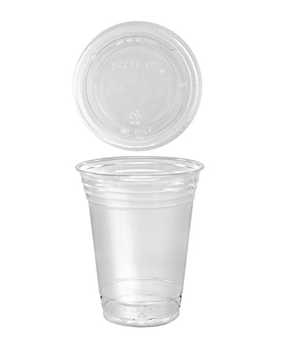 100 Sets 16 oz. Plastic CLEAR Cups with Flat Lids for Iced Coffee Bubble Boba Tea Smoothie