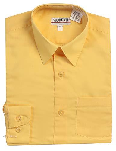 Gioberti Boys Long Sleeve Solid Dress Shirt, Banana, 6