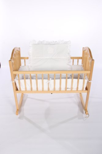 Baby Doll Bedding Solid with Flower Applique Cradle Bedding Set, White by BabyDoll Bedding