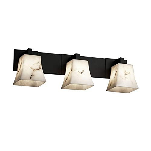 Justice Design Group LumenAria 3-Light Bath Bar - Matte Black Finish with Faux Alabaster Resin Shade