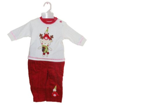Christmas Cotton Outfit with Reindeer and Robin Embroidered Applique 3-6 Months (Robin Outfit For Babies)