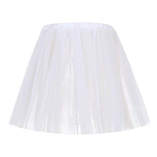 Jialili Women's Sequin Elastic 8 Layered Short Skirt Adult Tutu Dancing Skirt(,White)