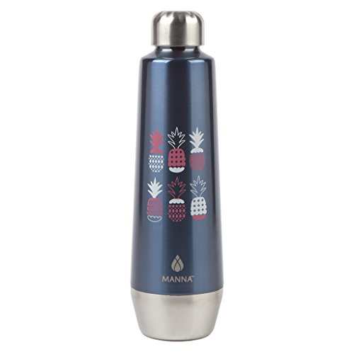 Manna Moda Metallic 18 oz Double Wall Vacuum Insulated 18/8 Stainless Steel Water Bottle | BPA Free | No Sweat | Leak Proof Lid | Keeps Liquid Cold for 24 Hours & Hot for 12 hours - Navy