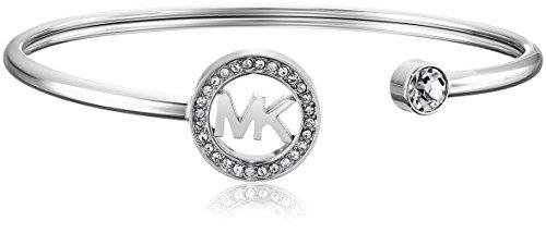 Michael Kors Silver-Tone MK Logo Bangle Bracelet