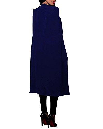 Cape Veste Bleu Costume Femme Blazer Manteau Cardigan Longue Capuchon xvwq0YBw