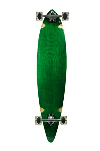 SCSK8 Natural Blank & Stained Complete Longboard Pintail Skateboard (Green, 40