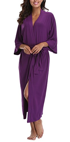 WitBuy Women's Soft Long Modal Cotton Robe Pure Knit Bathrobe V-Neck Nightgown Purple M -
