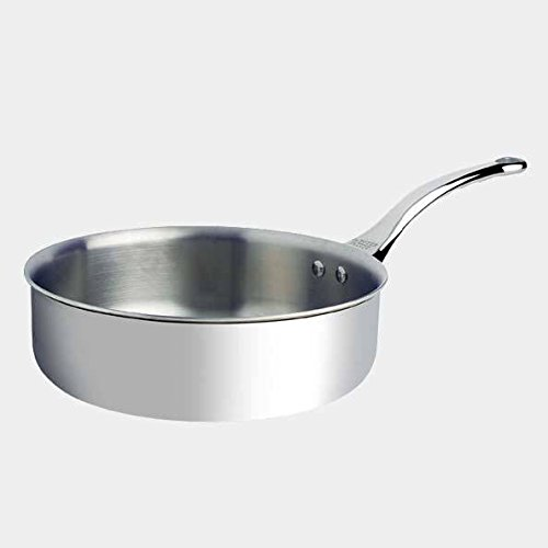 De Buyer Professional 24 cm Stainless Steel Affinity Straight Edge Sauté Pan 3730.24