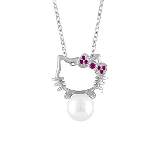 Cat Necklace Jewelry Hello Kitty Sterling Silver CZ Cultured Freshwater Pearl Adjustable Chain (Red)