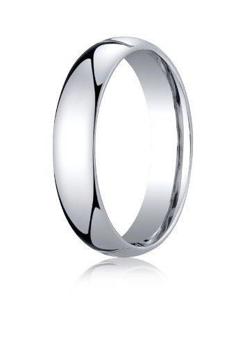 Mens 10K White Gold, 5mm Slightly Domed Standard Comfort-Fit Ring (sz 9.5) by Aetonal