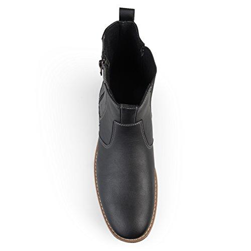 Territorium Mens Pilot Lace-up Faux Lederen Casual Chelsea Boots Zwart