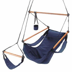 (South Mission Blue Camping Air/Sky Hanging Chair with Pillow Outdoor Porch Swing)