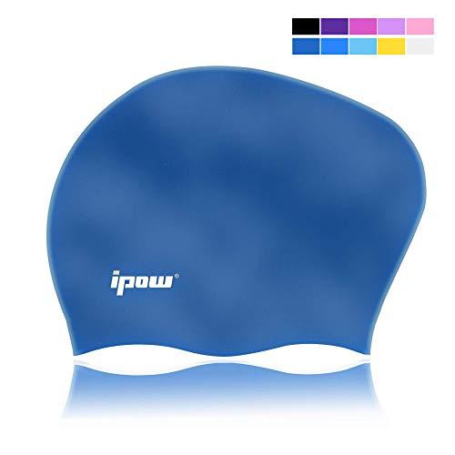 IPOW Hochwertige Silikon Badekappe Bademütze Badehaube für Lange Haare gesund und warm Swim Cap 6 Farbe