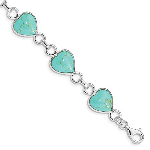 - 925 Sterling Silver Heart Shaped Blue Turquoise Bracelet 7 Inch Gemstone/love Fine Jewelry Gifts For Women For Her