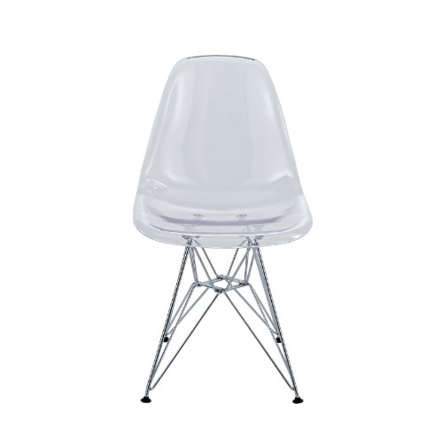 Modway Plastic Side Chair in Clear with Wire Base by Modway (Image #3)