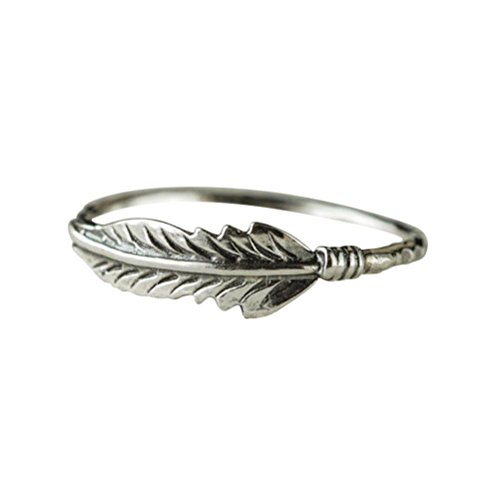 Balakie Sterling Silver Ring Antique Jewelry Solid Feather Alloy Bride Wedding Birthday Gift (Silver, 8) ()