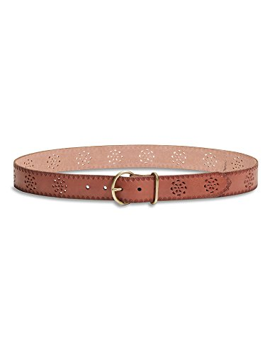 "Lucky Brand - Women's - 1.5"" Floral Tool Perforated Cut-Out Brown Leather Belt (Medium)"