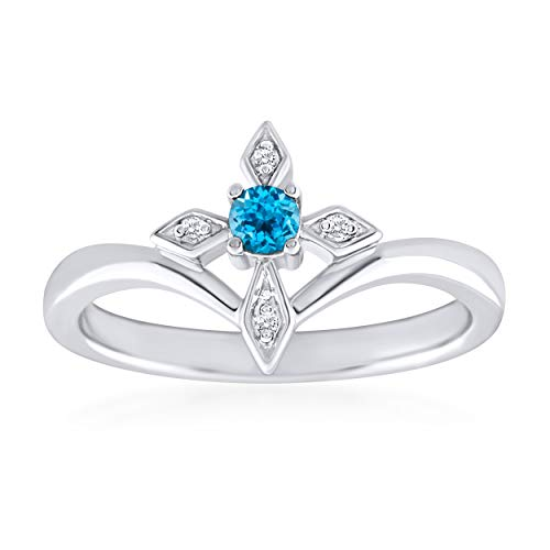 Rare Earth Diamond Jewellery Round Cut Blue Topaz Christian Cross Ring in 14K White Gold Over Sterling Silver
