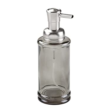 InterDesign Hamilton Foaming Glass Soap Dispenser Pump for Kitchen, Bathroom Vanities - Smoke/Brushed