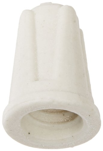 NSI TOP-L-D Easy-Twist Large Ceramic Wire Connector, 18-8 AWG at 600 V, Splicing Wire, 1000 F Max, White with Pack of 15
